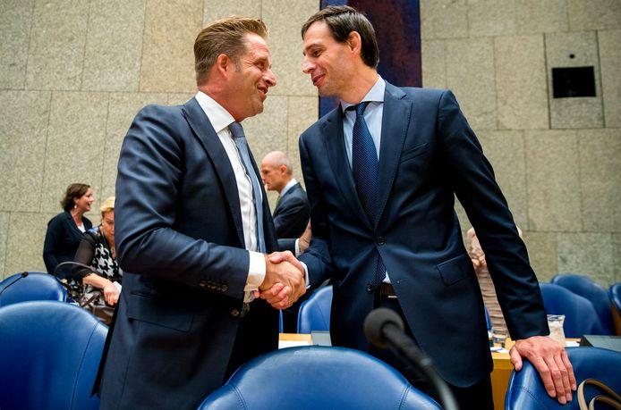 CDA'ers Hugo de Jonge en Wopke Hoekstra in betere tijden voor de partij.