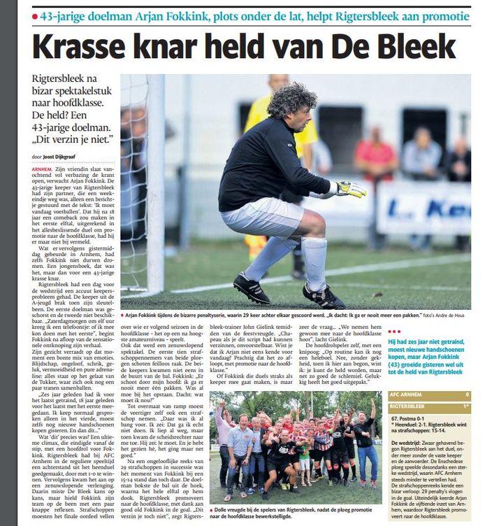 De Twentsche Courant Tubantia van maandag 8 juni 2015. Rigtersbleek en Arjan Fokkink vol in de spotlights.