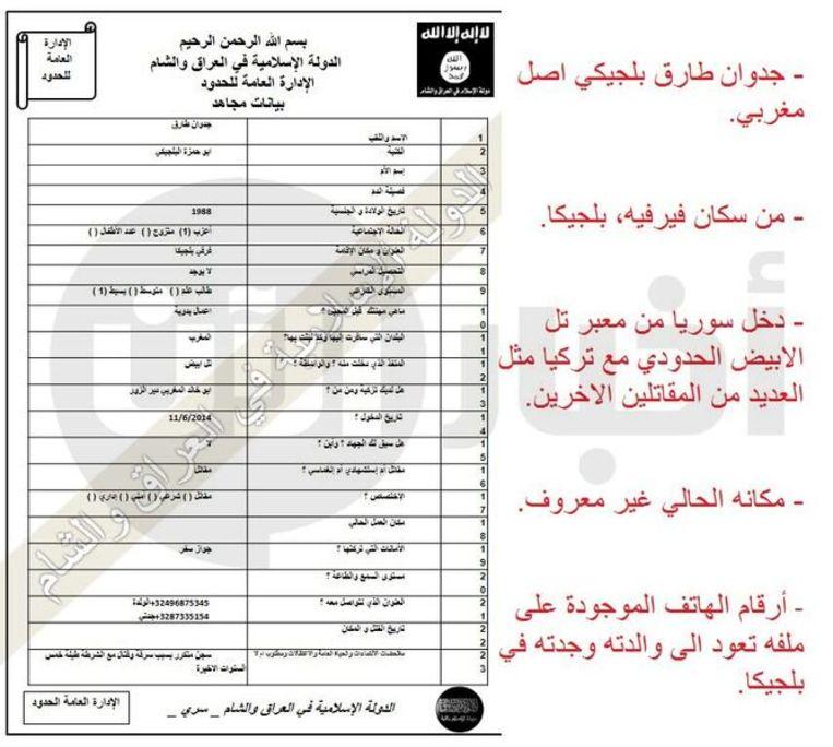 De IS-fiche van Mohamed Botachbaqut Beeld RV