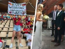 Kat Kerkhofs souhaite un bon anniversaire de mariage à son mari Dries Mertens depuis les tribunes à Séville