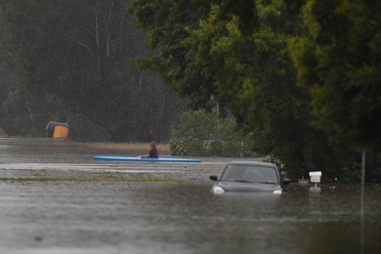 Een man in een kajak in een overstroomd deel van Sydney.  Beeld EPA