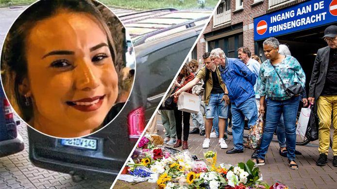 Links: Yasemin Gündogan gebruikte een gehuurde Mercedes Vito om haar slag te slaan. Mensen leggen bloemen op de plek waar Peter R. De Vries werd neergeschoten (rechts).