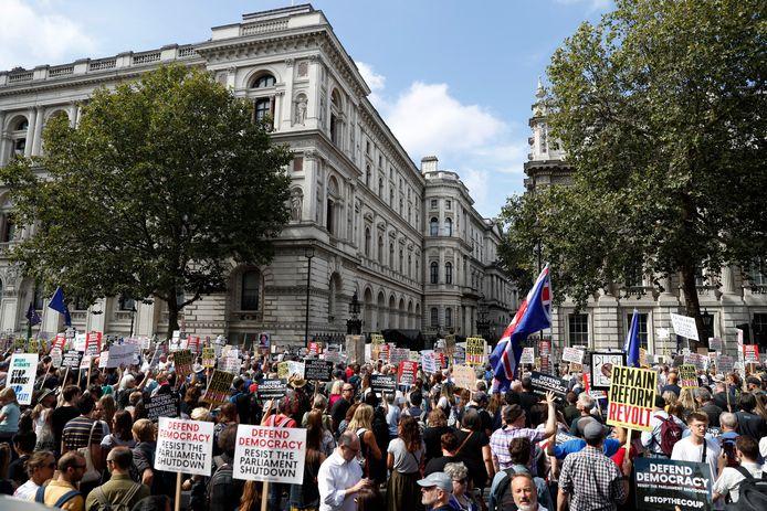 Honderden demonstranten verzamelden deze middag al in Londen aan de poorten van Downing Street.