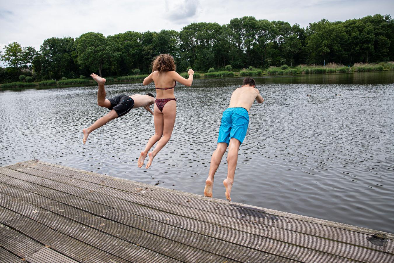Tim de Vries, Lien Fermont en Demian Faas (vlnr) springen in de Otheense Kreek.