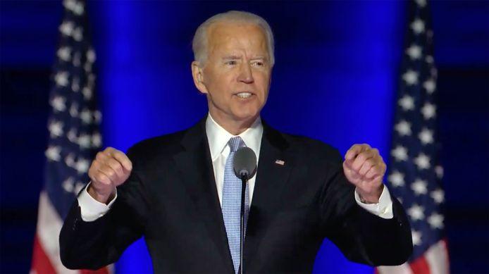 Verkozen president Joe Biden gaf gisteravond zijn overwinningstoespraak.