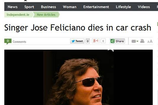Ook de Ierse nieuwssite The Indepent meldde dat de 'Feliz Navidad'-zanger was overleden.