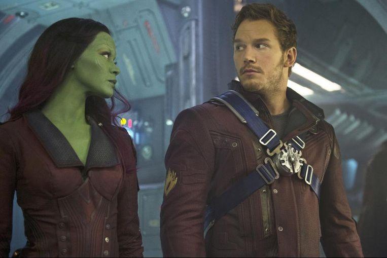 Zoe Saldana en Chris Pratt in Guardians of the Galaxy van James Gunn. Beeld