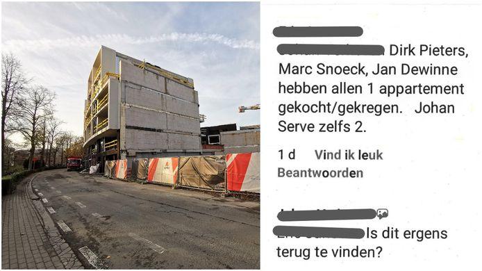 Een archiefbeeld van de werf langs de Arkenvest van eind vorig jaar in Halle. Rechts de Facebookpost waarmee de leugens verspreid raakten.
