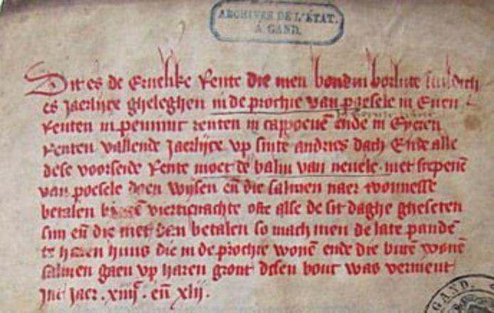 Een fragment uit het renteboekje van Poesele uit 1442.