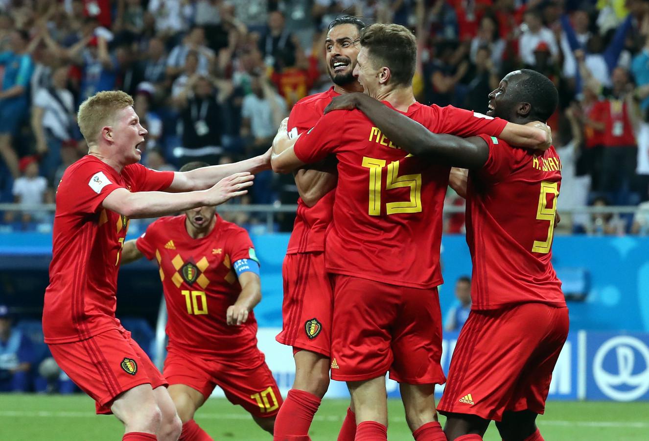 Nacer Chadli célèbre son but de la victoire en huitièmes de finale du Mondial 2018 en Russie contre le Japon (3-2).