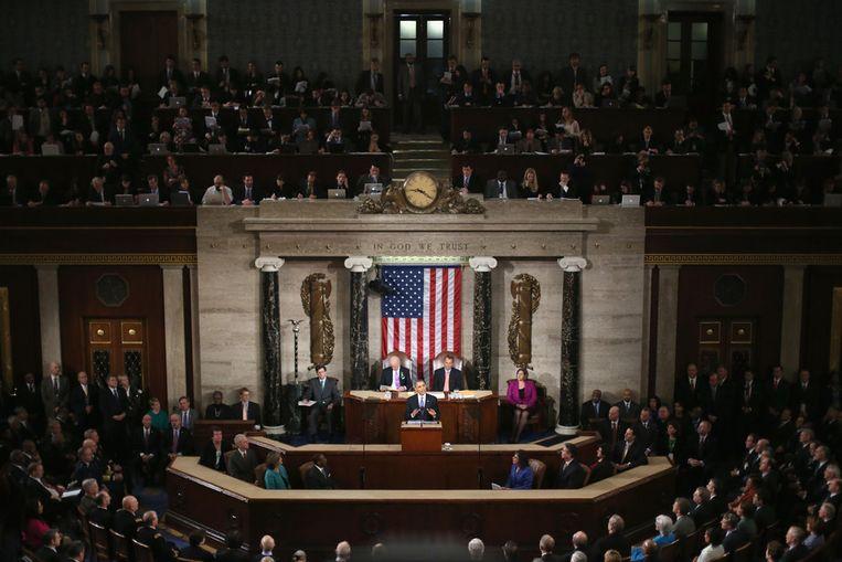 De State of the Union in het Amerikaanse Congres. Beeld getty