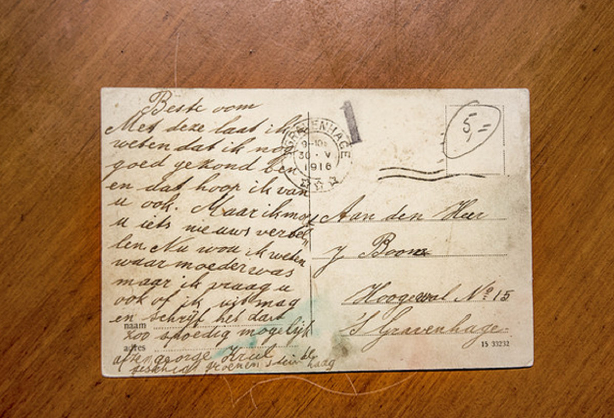 De kaart die George in 1916 naar zijn oom stuurde.