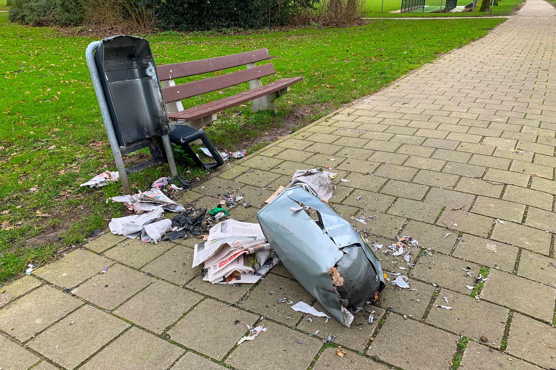 Een ontplofte afvalbak in Eindhoven (archieffoto).