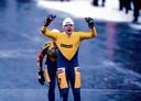 Henk Angenent komt in 1997 als eerste over de finish op de Bonkevaart.