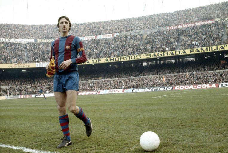 Johan Cruijff in Barcelona, in het seizoen 1977-1978. Beeld Photo News
