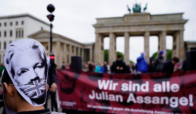 Steunbetoging voor Julian Assange in Berlijn. Beeld EPA