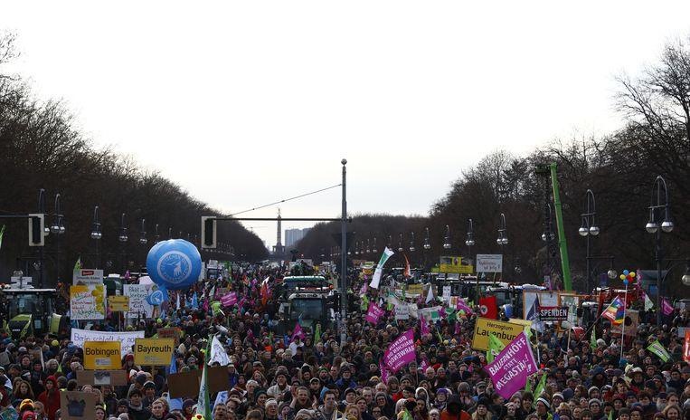 Protest voor een duurzamere landbouw in Berlijn, vorige maand.  Beeld Getty