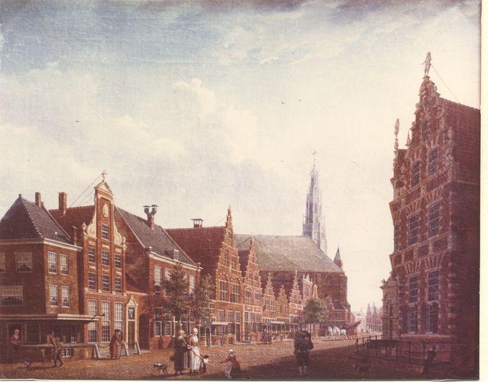 Schilderij van Izaak Ouwater, Nieuwstraat in Hoorn, 1784.