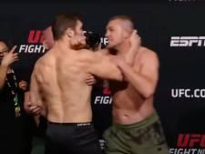 Staredown UFC-vechters escaleert: vechter vliegt rivaal aan