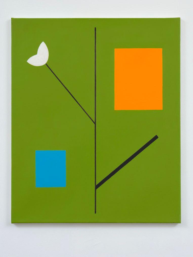 Jan Roeland, Compositie met bloem, tak en twee rechthoeken (2012), Slewe Gallery. Beeld Slewe Gallery