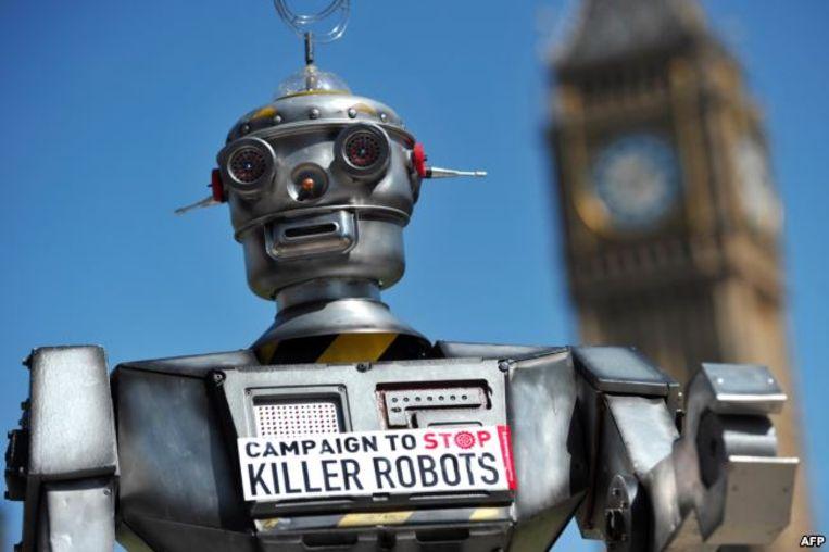 De Campaign to Stop Killer Robots startte in 2013 in Londen met deze robot. Beeld RV