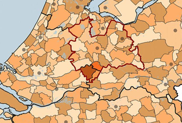 De grenzen van de provincie Utrecht sinds 2019.