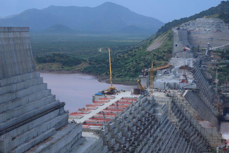 De Grand Renaissance Dam in Ethiopië ondergaat constructiewerkzaamheden. Beeld REUTERS