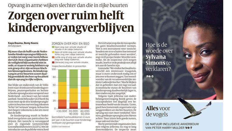 De voorpagina van de Volkskrant van dinsdag 22 november. Beeld