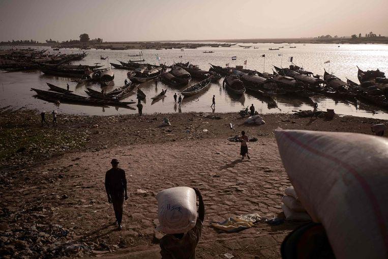 Mannen laden pirogues in de haven van Mopti, gelegen in de Niger Delta-regio van Mali. Beeld AFP
