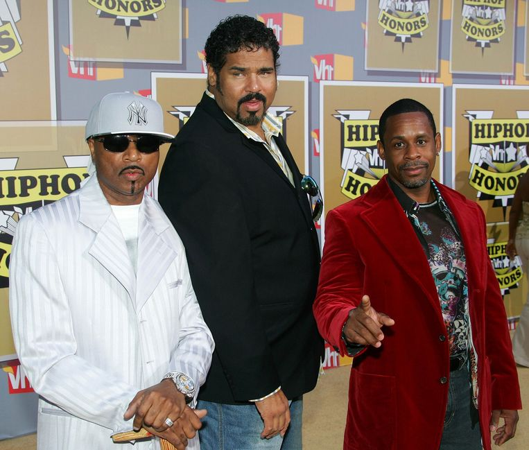 Sugarhill Gang in 2005, vlnr Master Gee, Big Bank Hank en Wonder Mike. Beeld GETTY