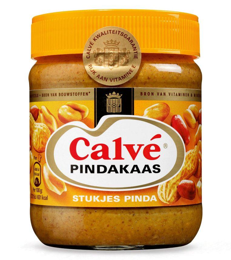 2: Calvé Pindakaas met stukjes pinda; 350 g. 2,29 euro (0,65 euro /100 g.) Beeld