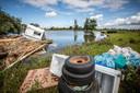 Eén van de opvallendste 'vondsten' was een gestrande caravan in het natuurgebied Hochterbampdt.