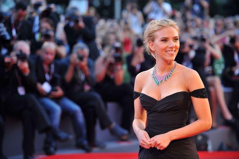 Scarlett Johansson tijdens de première van Under the Skin in Venetië, 2013. Beeld anp