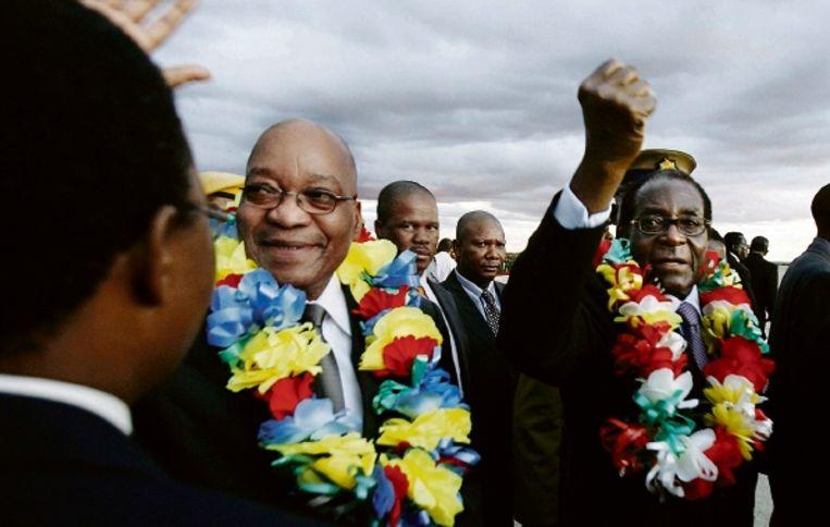 President Jacob Zuma van Zuid-Afrika (links) en collega Robert Mugabe van Zimbabwe op het vliegveld van Harare. (FOTO AFP) Beeld AFP