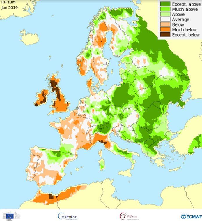 Tijdens januari viel er in de oostelijke Alpen veel meer neerslag dan normaal, terwijl het in de westelijke Alpen juist droger was.