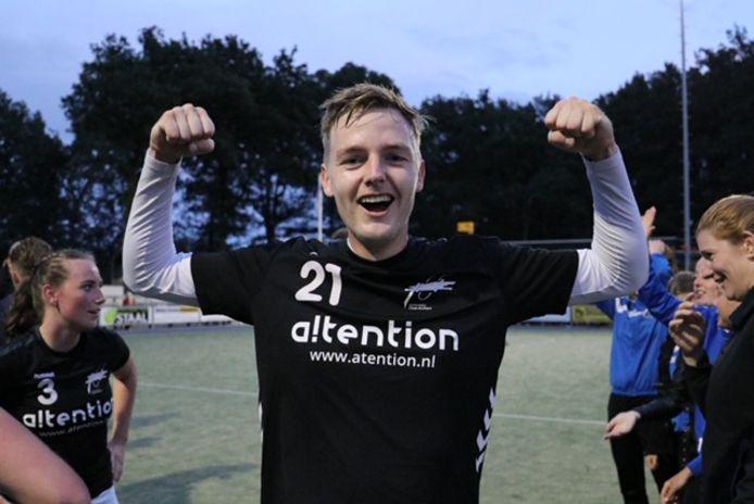 Matthijs Baerends, Oost-Arnhems topscorer, hier in 2019, is er lang uit vanwege een breuk in (de kop van) zijn scheenbeen.