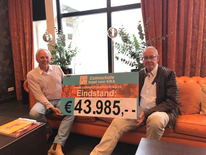 De eindstand van de kika-run die nooit gelopen werd: 43.985 euro. Henk Vrielink (r), oud voorzitter van winkeliersvereniging Colmschate, reikt de cheque uit aan Rien Schimmel (l), ambassadeur van KiKa.