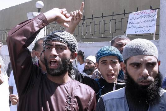 Salafisten tijdens een staking in Jordanië.