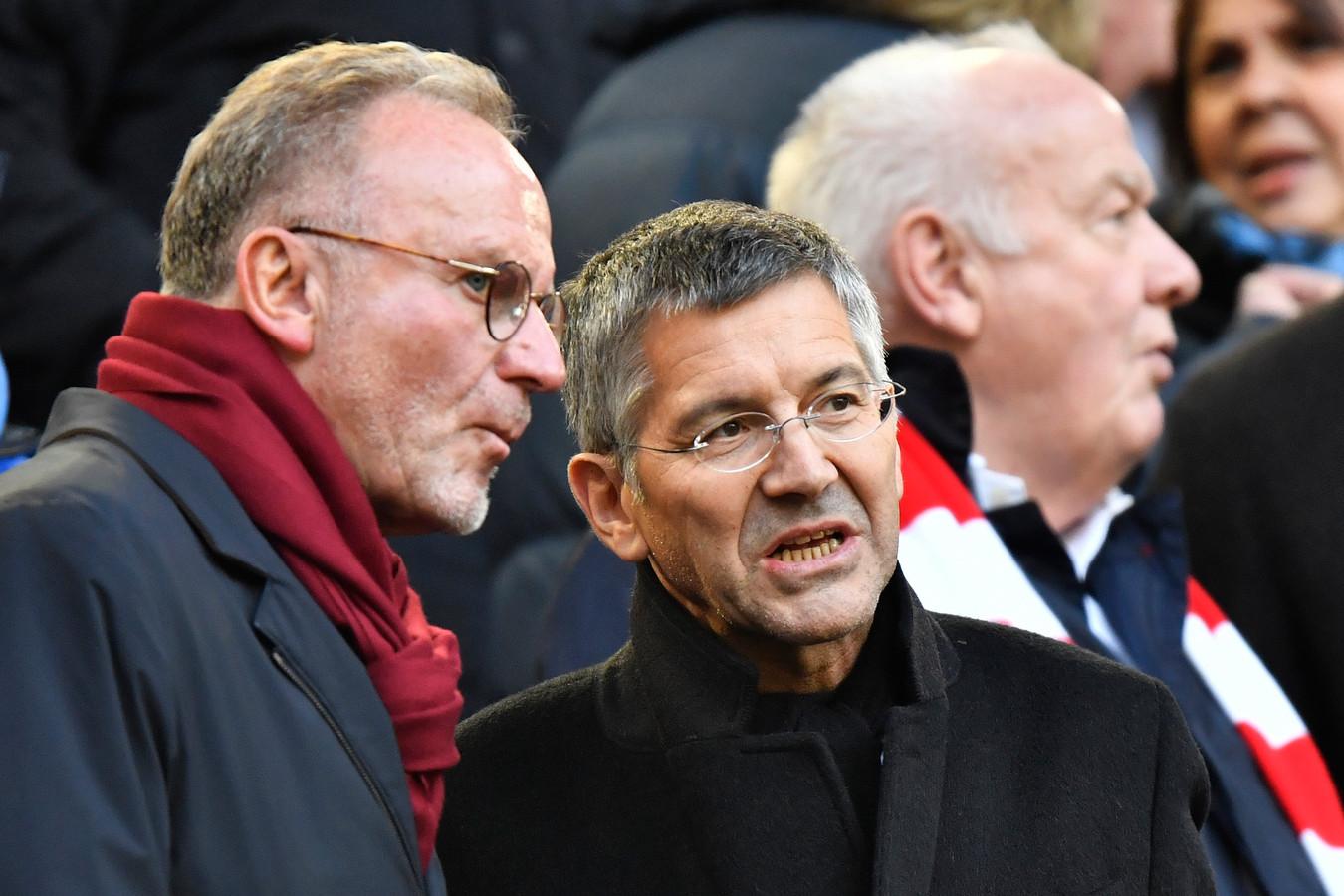 Bayern-president Herbert Hainer (r) en voorzitter Karl-Heinz Rummenigge.