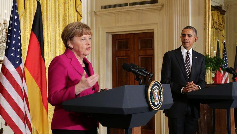 Bondskanselier Angela Merkel op bezoek in het Witte Huis bij president Barack Obama. Beeld epa