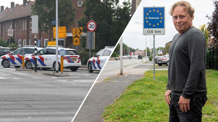 Politie bij het incident in Almelo en Jan Willem verhuisde naar het Duitse Gronau.