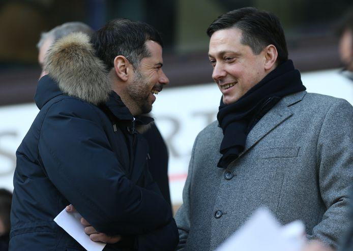 Mateja Kezman en Dejan Veljkovic vorig seizoen in de tribunes tijdens Anderlecht - KV Mechelen.
