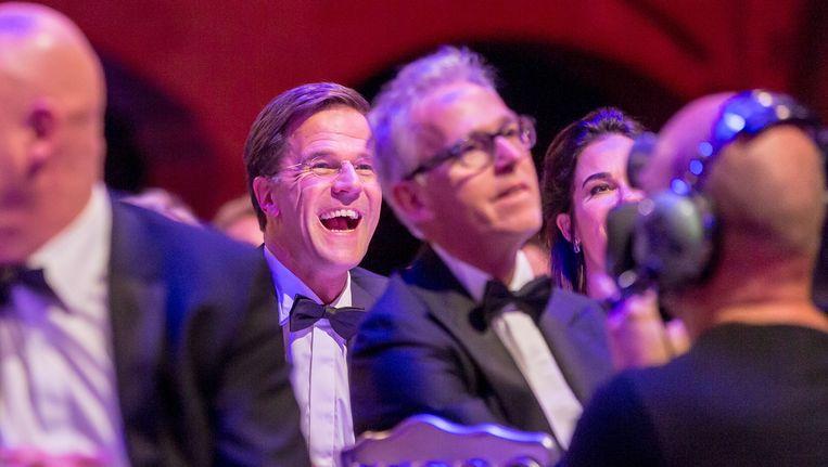 Mark Rutte tijdens het Correspondents' Dinner. Beeld anp