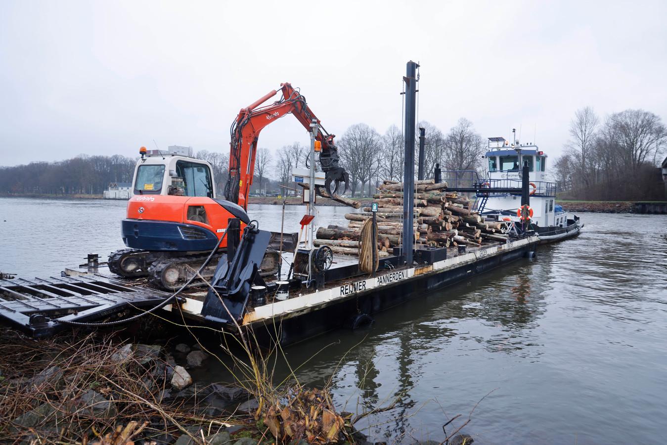 Gekapte bomen langs het Maas-Waalkanaal worden afgevoerd per schip.