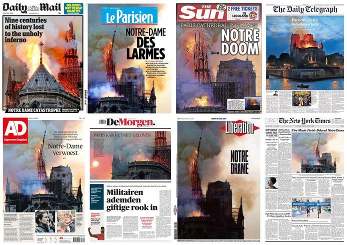 Voorpagina's van diverse kranten na de brand in Notre-Dame.