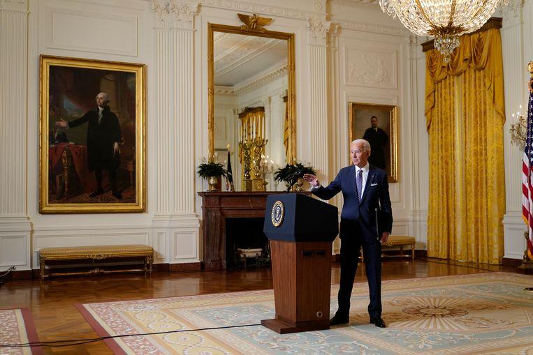 Joe Biden vrijdag in het Witte Huis, na een onlinesessie van de jaarlijkse veiligheidsheidsconferentie in München. Beeld AP