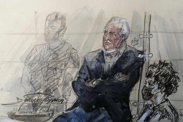 Een rechtbankschets van Ilich Ramirez Sanchez tijdens zijn hoorzitting deze week.
