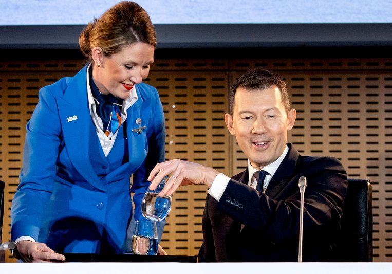 Ben Smith (ceo van Air France-KLM) tijdens de bekendmaking van de jaarcijfers dinsdag. Beeld Hollandse Hoogte /  ANP