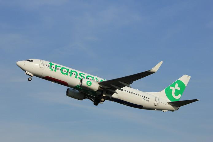 Met dit type Boeing van Transavia wordt de belevingsvlucht uitgevoerd.