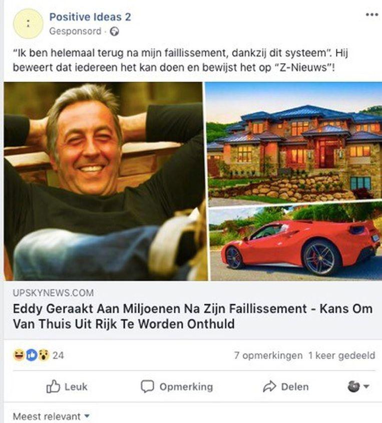 Screenshot met nepreclame op Facebook over Eddy Planckaert. Beeld RV